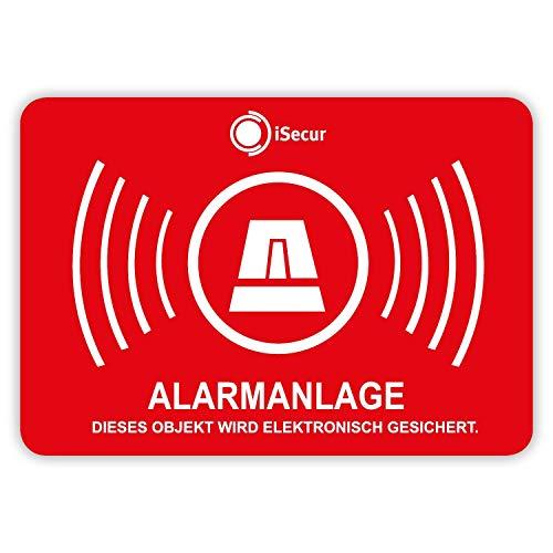 """5 Stück Aufkleber \""""Alarm\"""", iSecur, alarmgesichert, 50x35mm, Art. hin_047_5er_außen, Hinweis auf Alarmanlage, außenklebend für Fensterscheiben, Haus, Auto, LKW, Baumaschinen"""