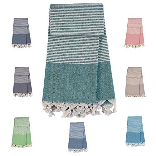 TRAVELER Pestemal Turkish Strand und Bade tuch - OEKO-TEX Standard Certificat - 100% best cotton - Prewashed tücher (Petrol Green)