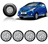 #10: Autopearl Auto Pearl - Premium Quality Car Full Wheel Cover Caps Silver And Black 12 Inches Press Type Fitting For - Hyundai Eon D-Lite