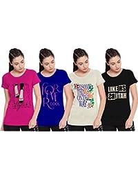 So Sweety Sneak Peak Ladies Half Sleeve Pack of 4 T Shirt (1009)