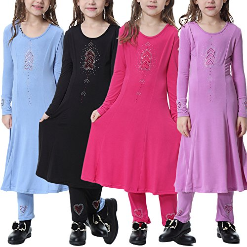 Muslim Islamic Girl's Long Sleeve Full Length Abaya Burka Arab Prayer Maxi Kaftan Liturgical Praise Dress Pants 2pcs Clothes Set Dancewear Worship Costume 6-17 Years