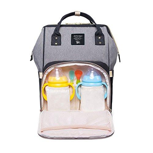 Baby Wickeltasche Wickelrucksäcke,Gintenco Multifunktional Wickeltasche Reise Rucksack für Reisen und Kinderwagen,mit einem hohen Fassungsvolumen(Schwarz und Grau)