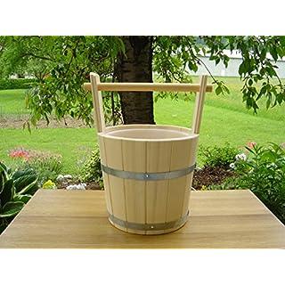 Sauna Aufgusskübel aus PEFC zertifizierten Lärchenholz 5 Liter mit Tragegriff und Kunststoffeinsatz