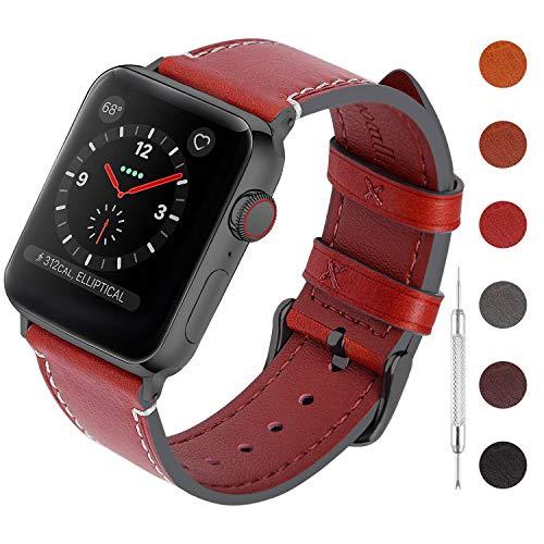 Fullmosa Wachs Leder Armband Kompatibel für Apple Watch iWatch Serie 4, 6 Farben Retro Schnellverschluss Männer und Frauen Uhrenarmband Geeignet für iWatch 40mm 44mm -
