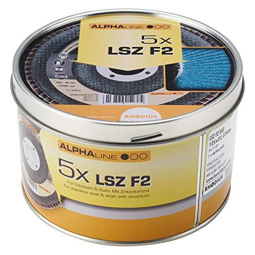 RHODIUS INOX Fächerschleifscheiben LSZ F2 BOX Ø 125 mm K40 für Winkelschleifer 5 Stück
