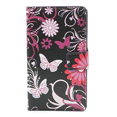 Custodia protettiva compatibile con Nokia Lumia 925 (RM-941) sacchetto di cuoio del faux manica copertura protettiva, chiusura a calamita laterale, base, con bellissimi fiori e farfalla design (nero, rosa, viola, bianco)