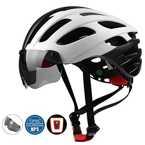 Shinmax casco da bici con led, certificato ce, occhiali magnetici rimovibili per uomo e donna (nero bianco)