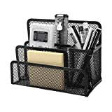 Crystallove Black Metal Mesh Pencil Cup Holder Pen Stand of Desktop Organizer Office Supplies (Black 3)