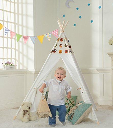 Preisvergleich Produktbild DalosDream Tipi Spielzelt für Kinder-100% Natürliches Baumwollsegeltuch