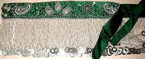 Pro Bauchtanz Performance Hip Schal Rock Münzen Gürtel M L XL XXL UK 14-22 (UK SIZE 16/18-20-22, Tiefgrünes Silber) (Plus Größen Bauch Tanzen Kostüm)