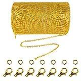 Collar de cadena de eslabones de acero inoxidable de 33 pies con 30 anillas de saltar y 20 cierres de langosta para hombres y mujeres (1,5 mm) dorado