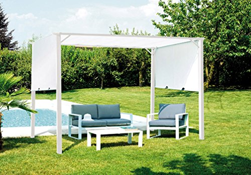 PEGANE Pergola de Jardin en Fer époxy Blanc Toit Coulissant en Polyester Blanc - Dim : 3.5 x 2.5m
