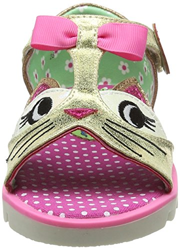Irregular Choice Kitty, Sandales  Bout ouvert fille Gold (Gold/Pink)