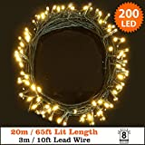 Fairy Lights 200 LED Warm White Outdoor Christmas Lights String Lights 8 Functions 20m/65ft Lit Length with 3m/10ft Lead Wire - Power Operated LED Fairy Lights - GREEN CABLE- INDOOR & OUTDOOR Use