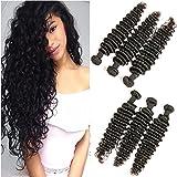 DAIMER Brazilian Hair Deep Wave 8a Tressen Weave 3 Bundle 22 24 26 Unverarbeitete Haar Remy Hair Extensions Haarverlängerung Echthaar Tressen Weavon 300g Natural Color
