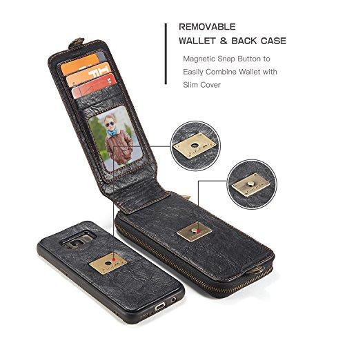 EKINHUI CaseMe Leder Brieftasche Case mit Magnetic PC + TPU Back Cover, abnehmbare Folio, Bargeld Halter Zipper Design für Samsung Galaxy S8 ( Color : Brown ) Black