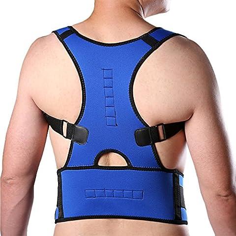 Unisex Neopren 10 Magnete Verstellbare Atmungsaktive Schulter Rückenbandage für Haltungskorrektur Blau XL