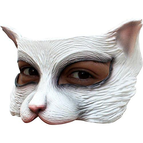Halbmaske Katze weiß one (Katze Frau Maske Und Ohren)