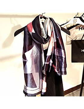 Pañuelo de seda de satén de seda Mujer Invierno Mantones Estolas,Negro,180cm x 90cm.