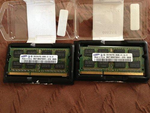 Dual Channel Kit: 2 x 2 GB = 4GB 204 pin DDR3-1066 SODIMM (1066Mhz, PC3-8500, CL7) 128Mx8x16 double side, 2 x M471B5673EH1-CF8, für DDR3-NOTEBOOKs, MacBook, MacBook Pro, iMac, mac mini (2009 Versionen) -