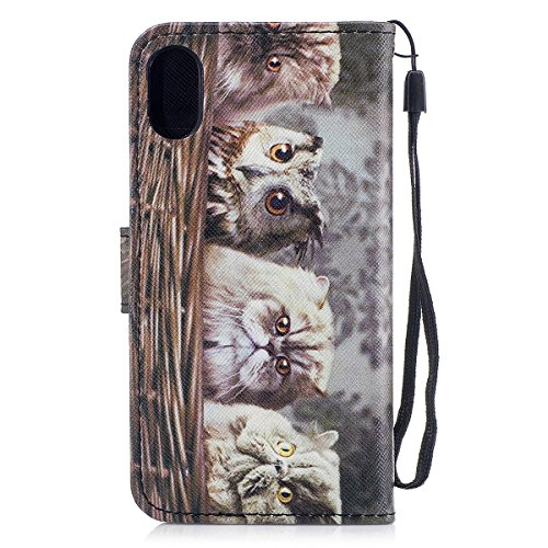 inShang Custodia per iPhone X 5.8 inch con design integrato Portafoglio, iPhoneX 5.8inch case cover con funzione di supporto. More than a cat