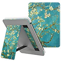 MoKo Case Fits Kindle Paperwhite (10th Generation, 2018 Releases), Lightweight PU Leather Cover Stand Shell with Hand Strap for Amazon Kindle Paperwhite 2018 E-reader - Almond Blossom