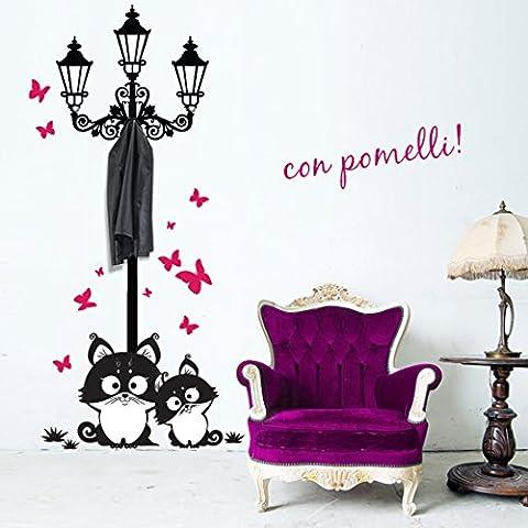 00739 Adesivi murali ''Lampione gatti e farfalle