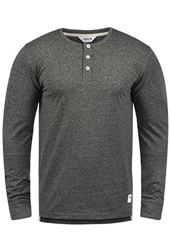 SOLID Espen Herren Longsleeve Langarm-Shirt mit Grandad-Ausschnitt aus 100% Baumwolle Meliert Slim Fit Dark Grey Melange (8288)