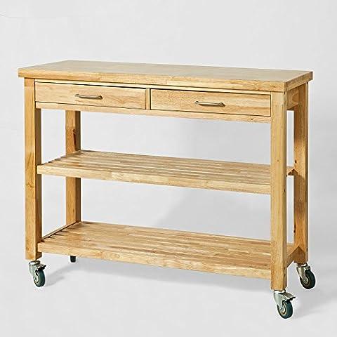 SoBuy® FKW24-L-N Chariot de Cuisine en bois d'hévéa Kitchen Trolley Desserte roulante avec 2 tiroirs et 2 étagères - L110xP40xH90cm
