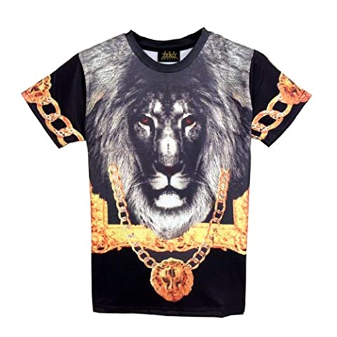 Pizoff Unisex Hip Hop luxury T Shirts Golden Lion with Apollo chain 3D pattern