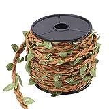 5mm * 10 mt Künstliche Blätter Schnur Seil, Simulation Blätter Mixed Stricken Wald Serie Hanf Wachs Seil für Wandbehang Handwerk, DIY Dekoration(braunes Wachsseil)