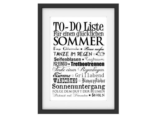 Shabby Druck Kunstdruck TO DO LISTE SOMMER Typo Fine Art Print Bild Poster Deko DIN A3