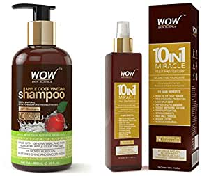 WOW Apple Cider Vinegar No Parabens & Sulphate Shampoo, 300mL And WOW 10 in 1 Miracle No Parabens & Mineral Oil Hair Revitalizer Mist Spray, 200mL