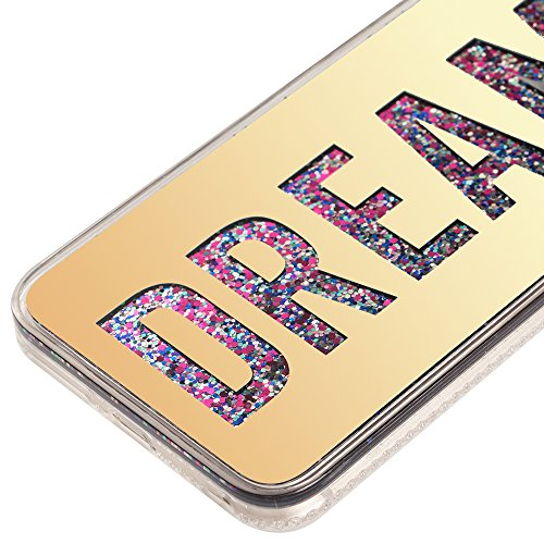 iPhone 7 Case for Girls,iPhone 7 Coque Anti chock Plastic Liquide Coque Bling Flash Etui Case Cover pour iPhone 7 4.7 Pouce,iPhone 7 Coque Transparente,iPhone 7 Coque Bling Diamant Cœur Etui Housse Co P Mirror Liquid 2