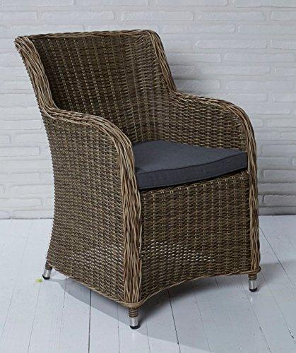 6x Hochwertiger Polyrattan Gartenstuhl Aluminium Gestell Sessel Rattan Stuhl Gartenstühle...