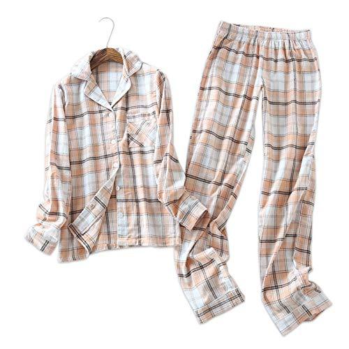 HIUGHJ Pyjamas Large Plus Size Germany 100% gebürstete Baumwolle Der einfache Schlafanzug für Frauen aus Frühlingsschlafanzug setzt langärmelige Nachtwäsche für Frauen (Boy Kostüm Einfach)