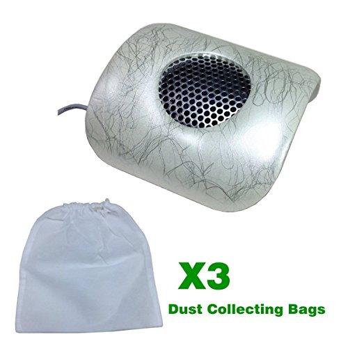 Belle Aspiratore Polvere / Manicure Absorb Dust Macchine con 3 Polvere Sacchetti di Raccolta per Ricostruzione Unghie Art, Argento Venature