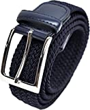 "Gift Boxed Mens 33mm (1.25"") Elastic Webbing Belt by Ashford Ridge (Navy, Large)"