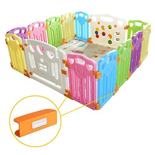 Baby Laufgitter Laufstall Baby Absperrgitter Krabbelgitter Schutzgitter für Kinder aus Kunststoff(14 Paneele,155x155x60CM)