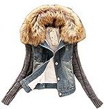 Damen Mode - Winter - warme Pelzkragen dünner Knit Sleeve