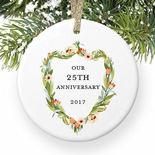nke 25. 25Jahren zusammen Paar Mann & Frau Love rund Christmas Ornament Andenken Xmas Tree Dekoration Hochzeit Jahrestag Geschenk Weihnachtsbaum Geschenk Idee ()