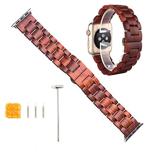 X-cool Apple Watch Armband Holz 42mm, Natürliche Handgemachte mit Adapter Sport Armbänder für iwatch Series 3 2 1(Red sandalwood, 42mm) (Red Hat-stoff)