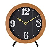 NIKKY HOME Reloj de mesa con caballete cuarzo analógicos Vintage de diseño y estantería para salón baño de decoración de escritorio de madera natural color negro reloj