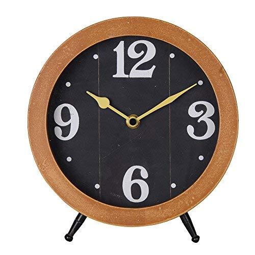 NIKKY HOME Orologio da tavolo con cavalletto quarzo analogico vintage design scrivania e porta per soggiorno bagno della decorazione in legno colore naturale nero Watches