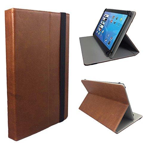 Real Leder Case Cover für Samsung Galaxy GT-N8000ZWADBT Tablet Schutzhülle Etui mit Touch Pen & Standfunktion - 10.1 Zoll Braun Leder (Gt Real)