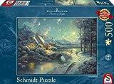 Schmidt Spiele 58453 - Thomas Kinkade, Winterliches Mondlicht, 500 Teile