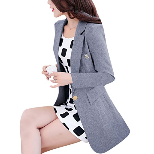 Aisuper - Giacca da abito - Maniche lunghe  -  donna Grey
