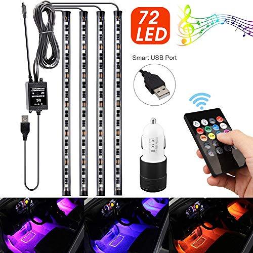 【2019 Neueste Modell】Uliyang 4x18 LED Innenbeleuchtung Atmosphäre Licht, LED Streifen innenraum 8 Colors, 12V LED Innenraumbeleuchtung mit ladegerät, Fernsteuerung für Zuhause oder Partydekoration -