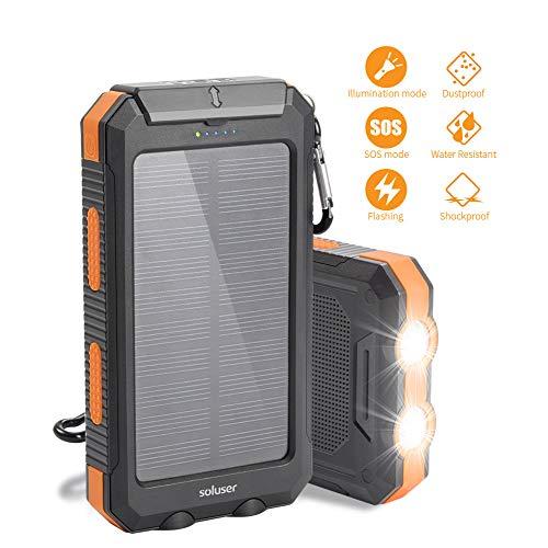 Soluser Solar Ladegerät Powerbank, 10000mAh Externe Batterie Akku IP65 Wasserdicht 2 USB Ports Portable Power Bank mit 2 LED Taschenlampe, Karabiner und Kompass - Solarenergie-handy-fall