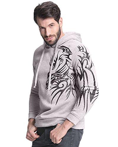 StyleDome Uomo Felpa con Cappuccio Manica Lunga Casual Sportiva Cotone Stampa Tasche Grigio